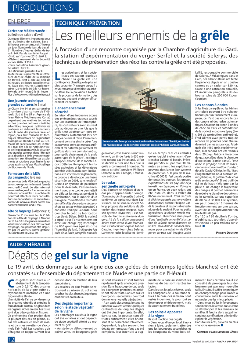 , A new post on Selerys in the French newspaper 'Paysan du midi'